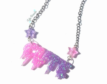 CUTE - pink/purple - Resin Necklace Valentines Gift