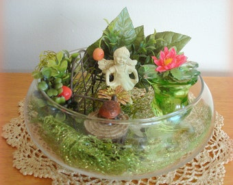 Miniature Fairy Garden Hidden Enchanted Garden Hand Crafted Home Decor Centerpiece Table Decor Glass Bowl Fairy on Bench Turtle
