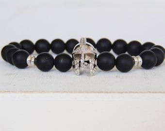 Mens Bracelet, Gift for Men, Bracelet for Men, Helmet Bracelet, Silver Helmet, Warrior Bracelet, Mens Spartan Bracelet, Gift for Him