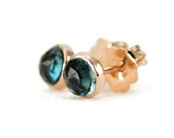 London Blue Topaz Studs - 14k Rose Gold Post Earrings - 5mm Rose Cut Gemstone Choices