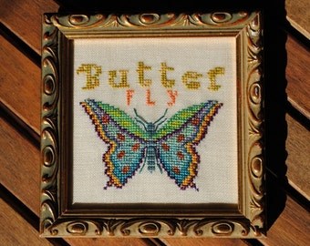 Counted Cross Stitch Instant Download Butterfly Pattern. Butterfly design. Counted Embroidery. X stitch PDF Chart. Needlework Pin cushion