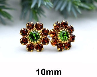 Brown Crystal Studs, Cluster Earrings, Smoked Topaz and Fern Green, Gold Studs, Flower Cluster, 10mm Studs, Rhinestone Earrings