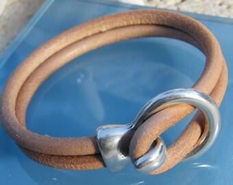 Natural Tan Leather Unisex Bracelet