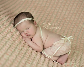 Newborn blush lace skirt set photo prop
