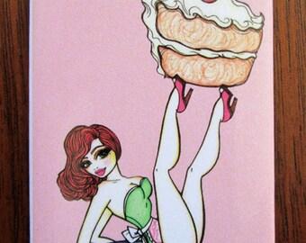 "Magnet: ""Cake"" Pinup girl, dessert themed refrigerator magnet."