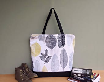 Extra Large Tote in Grey and Yellow Leaves, Oversized Shoulder Tote Bag with Large Leafy Print, Black Waxed Canvas Bottom Tote, Beach Bag