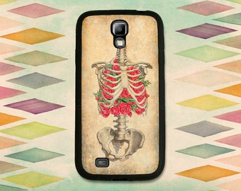 Vintage Skeleton Illlustration With Roses Case For The Samsung Galaxy S4, S5 or S6.