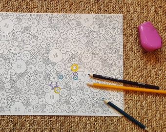 Adult Coloring Page - Abstract Buttons