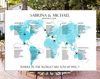 Map seating chart etsy world map seating chart printable wedding or party personalized digital file travel theme destination wedding gumiabroncs Choice Image