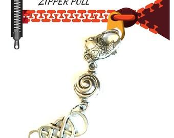 Antique Silver Charmed Zipper Pull, Versatile Handbag Charm, Key Ring, Bag Dangle,Anytime Gift, Zipper Charm, Jacket Decor, Zip Decor,