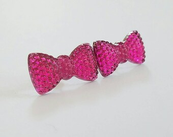 Sparkle Bow Earrings in Hot Pink