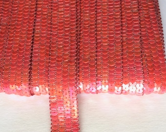 Galon paillettes sequins rond ORANGE CORAIL sur 4 rangs vendu a la coupe à partir de 20cm