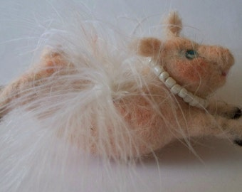 Flying Pig  needle felted wool    when pigs fly