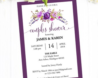 Couples Shower Invitation Instant Download, Printable Couples Shower Invites with Purple Flowers, Editable PDF Template #MCS-03c