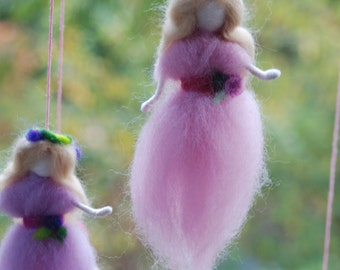 Fairy Mobile Needle Fellted 6 Needle Felted Fairies in Shades of Pink & Purple Handmade Baby Mobile Nursery Decoration