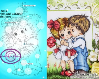 Digital Stamp, Digi Stamp, digistamp,  First Kiss (2 files) by Conie Fong, valentines, love, Christmas, coloring page, boy, girl
