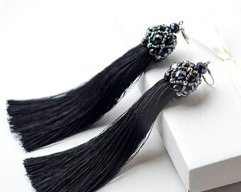 Black Earrings with Tassel Earrings Fringe Earrings Statement Earrings Holiday Earrings for Girlfriend Gift Idea Fashion Earrings new 2018