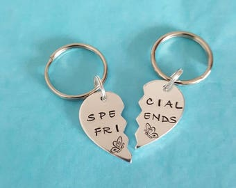 Quality hand stamped special friends keyrings great for gifts for birthdays or any occasion