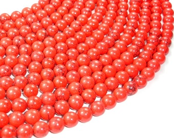 Red Howlite Beads, 8mm Round Beads, 15.5 Inch, Full strand, Approx 50 beads, Hole 1.2 mm, A quality (275054015)