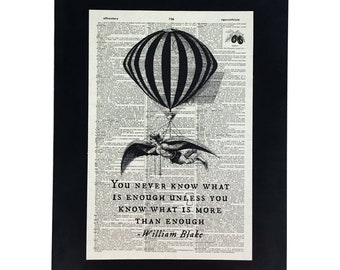 """Repurposed Antique Dictionary Page Wall Decor - Steampunk Balloon Flying Man - William Blake """"You Never Know What Is Enough"""""""