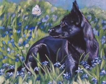"black AUSTRALIAN KELPIE dog portrait art canvas PRINT of LAShepard painting 8x8"""