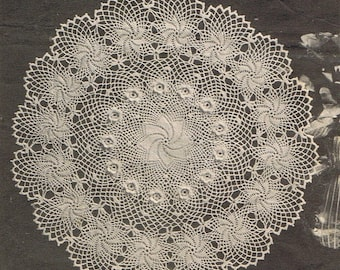 Irish Rose of Erin ~ Vintage Crochet Doily Pattern ~ Rose Flower Pinwheel ~ Centerpiece ~ Beautiful Heirloom Doily  in Any Color