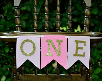 Pink and Gold First Birthday Banner - One Bunting Banner for High Chair - First Birthday High Chair Banner Girl - Girl First Birthday