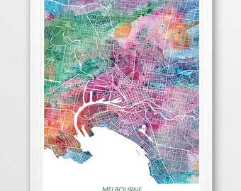 Urban watercolor etsy melbourne map print melbourne poster australia melbourne urban city street map watercolor print modern home wall office decor printable gumiabroncs Images