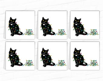 Cat Gift Tags, Black Cat Holiday Gift Tags, Printable Christmas Gift Tags, Xmas Gift Tags, Holiday Gift Labels, Hang Tag, To From Gift Tags