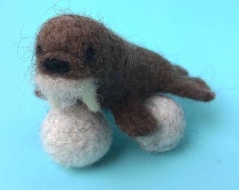 needle felted walrus, needle felted arctic animal, fiber sculpture, needle felting, nursery art, handmade fiber sculpture, handmade gift