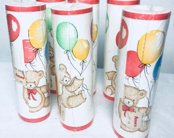 Vintage baby nursery wallpaper boarder teddy bears with balloons pastel colors