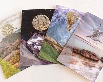 inspirational Letterpress foil artwork x4 cards - Gold and silver foil hot air balloon, compass, full moon, gull, vintage images, landscape