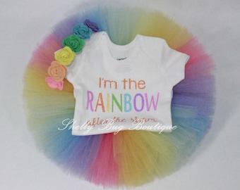 Glitter Rainbow after storm, Rainbow baby tutu, Rainbow baby outfit, Rainbow Baby Gift, Rainbow tutu, Rainbow baby tutu, Rainbow Headband