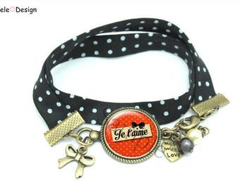 Liberty bracelet I love you I love polka hearts bow