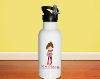 Fashion Kids Water Bottle - Fashion Girl Pink Boots with Name, Child Personalized Stainless Steel Bottle BPA Free Back to School