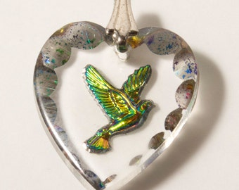 Vintage Dichroic Glass Heart with Silver Hummingbird Etching