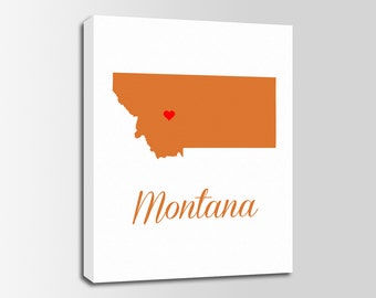 Montana Canvas Print, Montana Map, Montana Print, State Wall Art, Personalized Home Town Art, Wall Decor, Nursery, USA