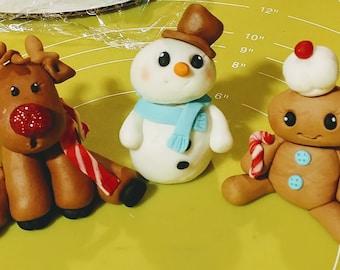 Fondant Christmas Cake Topper Set