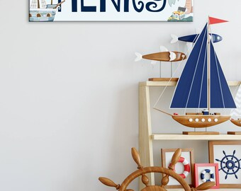 Pirate Room Decor, Pirate Wall Art, Canvas Name Sign, Boys Room Decor, Canvas Name Art, Pirate Nursery, Canvas Wall Art, Pirate Name Sign