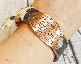Leather Cuff, Leather Bracelet, Cuff Bracelet, Leather Wristband, Leather Jewelry, Black Leather Cuff, Women Bracelet, Hand Stamped Cuff