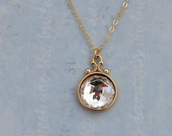 gold crystal necklace - VINTAGE SPARKLE - vintage style gold filled necklace with clear crystal vintage cab by Swarovski