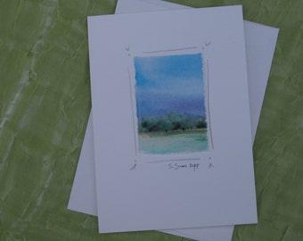 Watercolor notecard, hand-painted original landscape painting, tiny painting, original watercolor