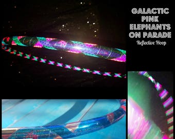 Galactic Pink Elephants on Parade Reflective Hula Hoop - Made to Order(5/8,11/16, 3/4 Poly/HDPE)-Free Crystal Clear Protection Tape!!