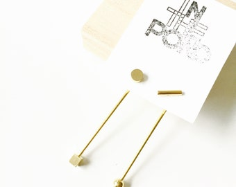 Unmatch minimal design , 925 sterling silver plated gold earring studs