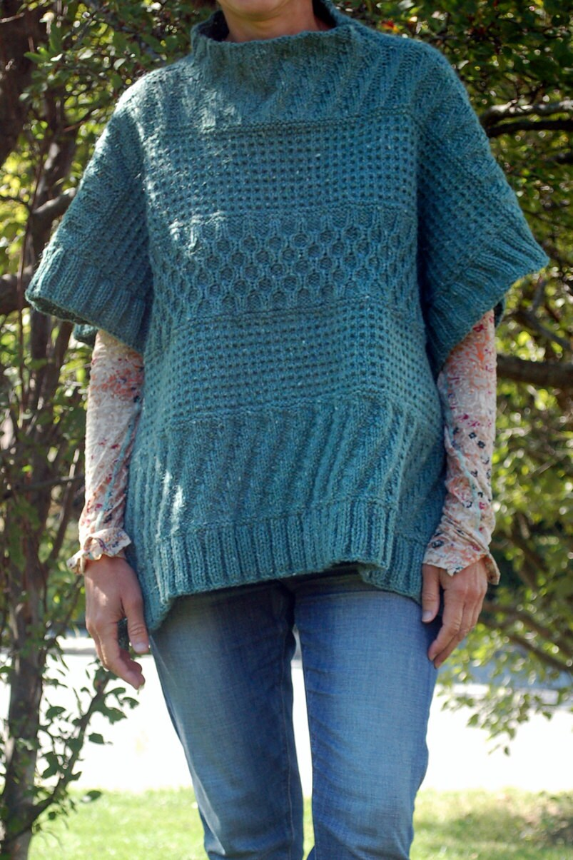 Lexie Poncho, Knitting Pattern, Easy to Knit, Knit Poncho, Textured ...