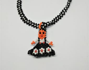 Tribal Black & White Handmade Beaded Necklace