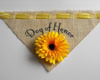 Wedding Bandana for Dog of Honor - Burlap Dog Bandana for Rustic Wedding - Yellow, Pink, Green, Purple, Burgundy, Turquoise