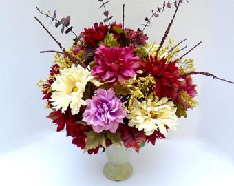 Fall Floral Arrangement in Vase -  Fall Table Centerpiece  ,Fall Centerpiece,Autumn Centerpiece, Fall