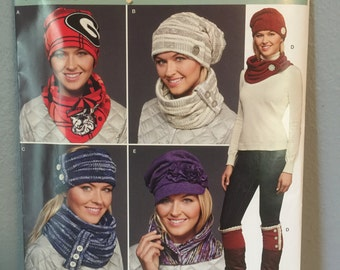 Simplicity Pattern J0207 Craft Pattern for various cold weather accessories hats cowls scarf headband boot topper