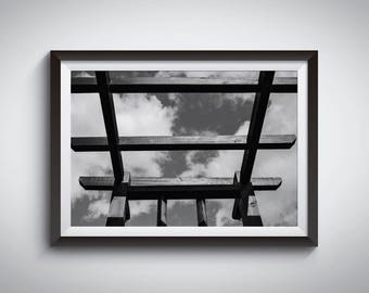 INSTANT DOWNLOAD Black and White Photo of wooden construction. Wall Art, Posters, Photo Prints, Photo Gifts.